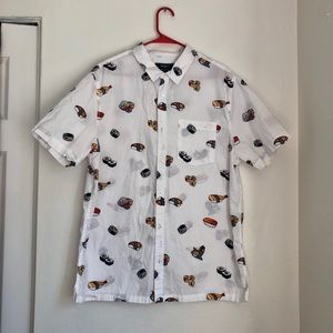 Men's never worn graphic button down shirt